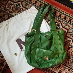 Michael Kors green push lock handbag